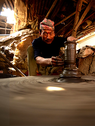 Traditional pottery making at Bhaktapur